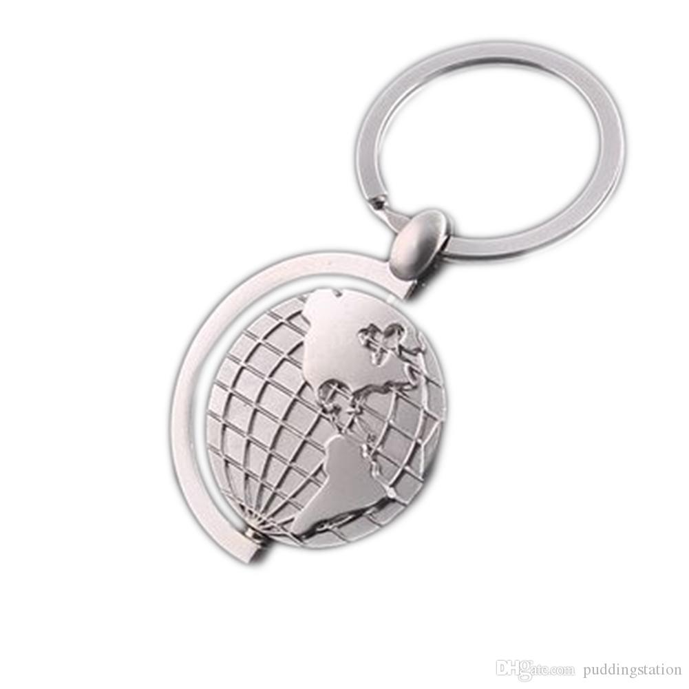 Fashion Creative Casual Globe Keychain Alloy Earth Keyring,novelty Metal Trinket Key Ring Holder Souvenir Gift