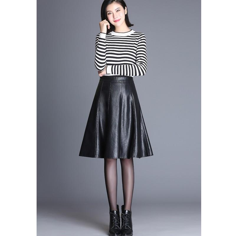 2019 YSMARKET 4XL Women Faux Leather Skirt Plus Size A Line ...