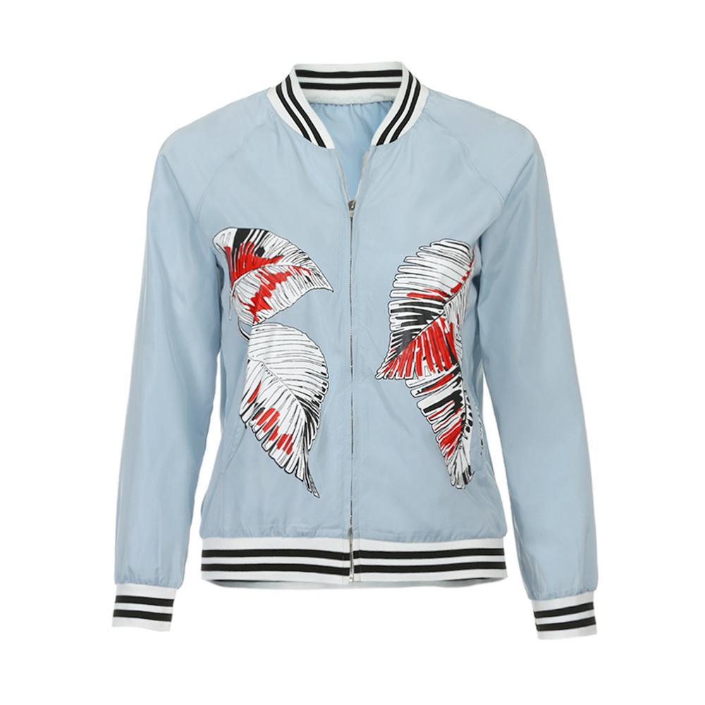7f3e8134051 Women Basic Coats Casual Print Zipper Vintage Bomber Jacket Coat Outwear  Crop Top Jaqueta Feminina Colete Feminino De Inverno Online with   36.82 Piece on ...