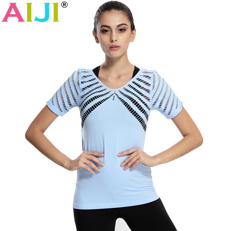 80f41eac 2019 AIJI Hollow Fitness Yoga Top T Shirt Women Quick Dry Short Sleeve  Running Shirts Female Workout Gym Shirts Sports From Baibuju, $33.73    DHgate.Com
