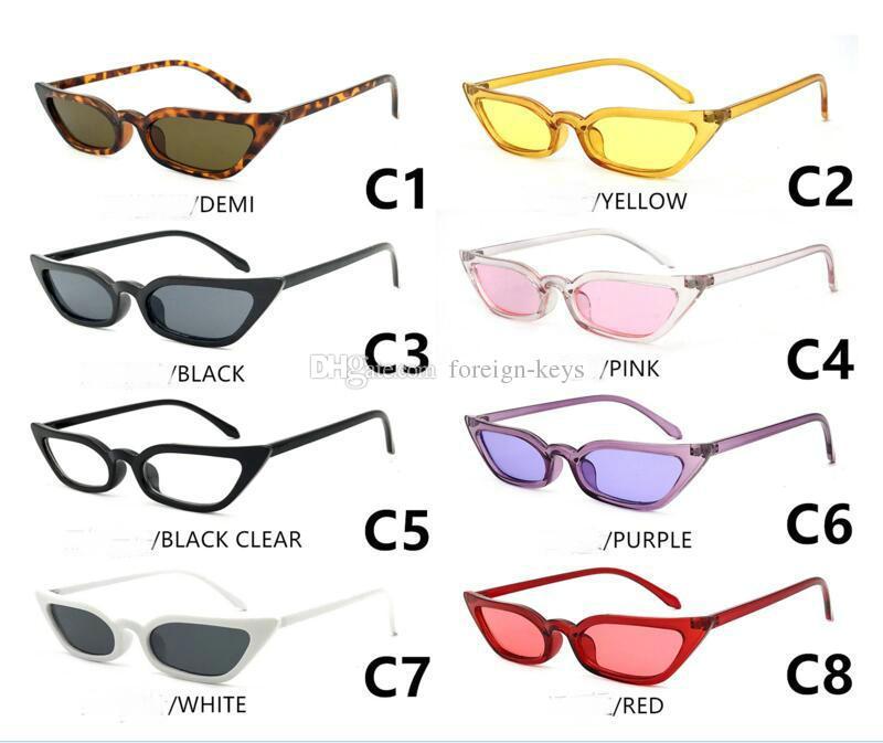 2018 europäische und amerikanische trendige Sonnenbrille kleine Rahmen transparent scharffüßige Katzenauge Sonnenbrille kann wählen SUNGLASS.