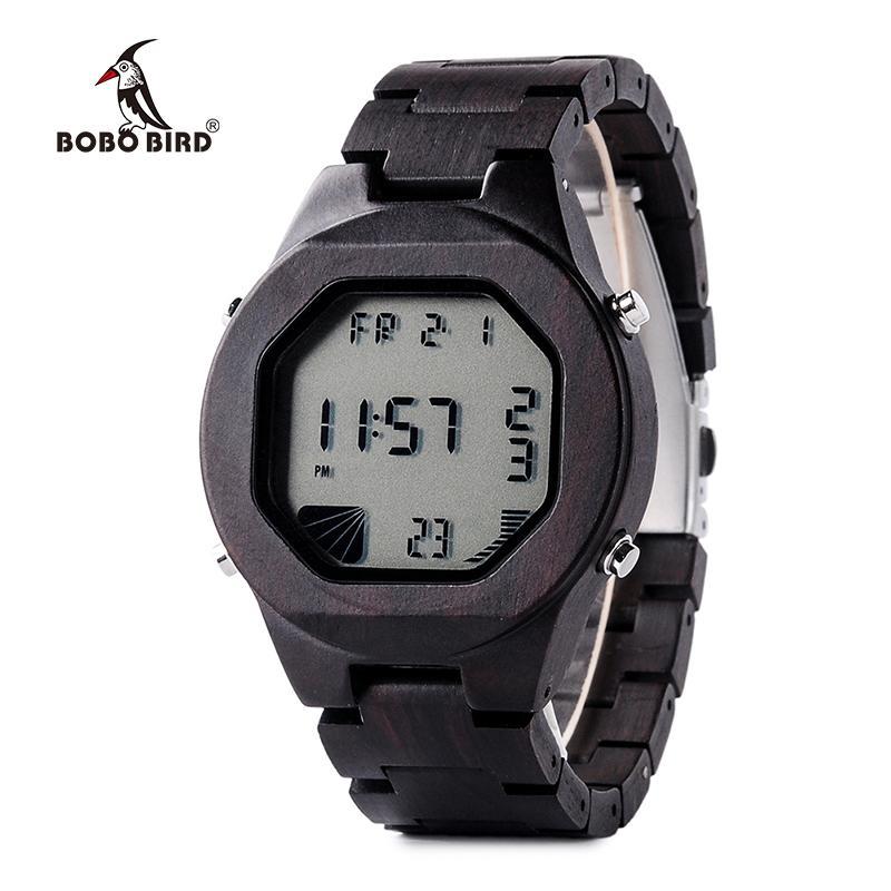 09056125e75 Compre BOBO PÁSSARO LEVOU Relógio De Pulso Digital Nova Chegada Dos Homens  Esporte Relógios Ébano Madeira Caso Relogio Masculino C Q06 De Zebrear