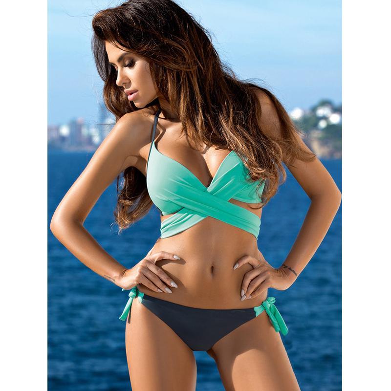 17dd26db8 Compre 2018 Bikini Sexy Traje De Baño De Las Mujeres Push Up Swimwear Criss  Cross Vendaje Halter Bikini Set Beach Traje De Baño Swim Wear XXL Compras  Libres ...