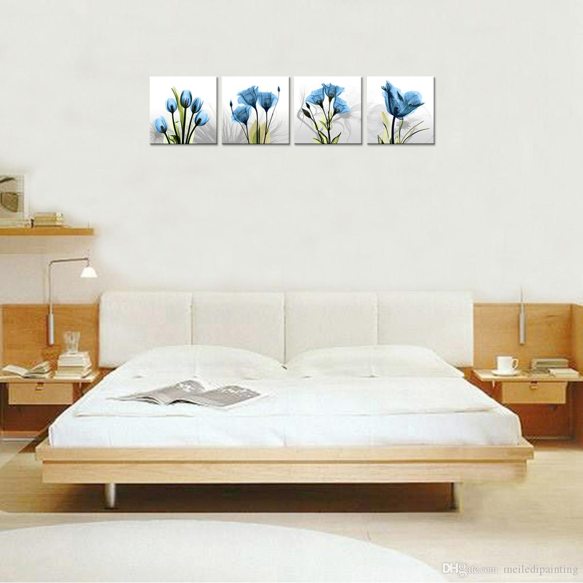 Canvas Painting Wall Art Innovative Blue Tulip Background Picture Print on Canvas Landscape Stretched and Framed Home Decor