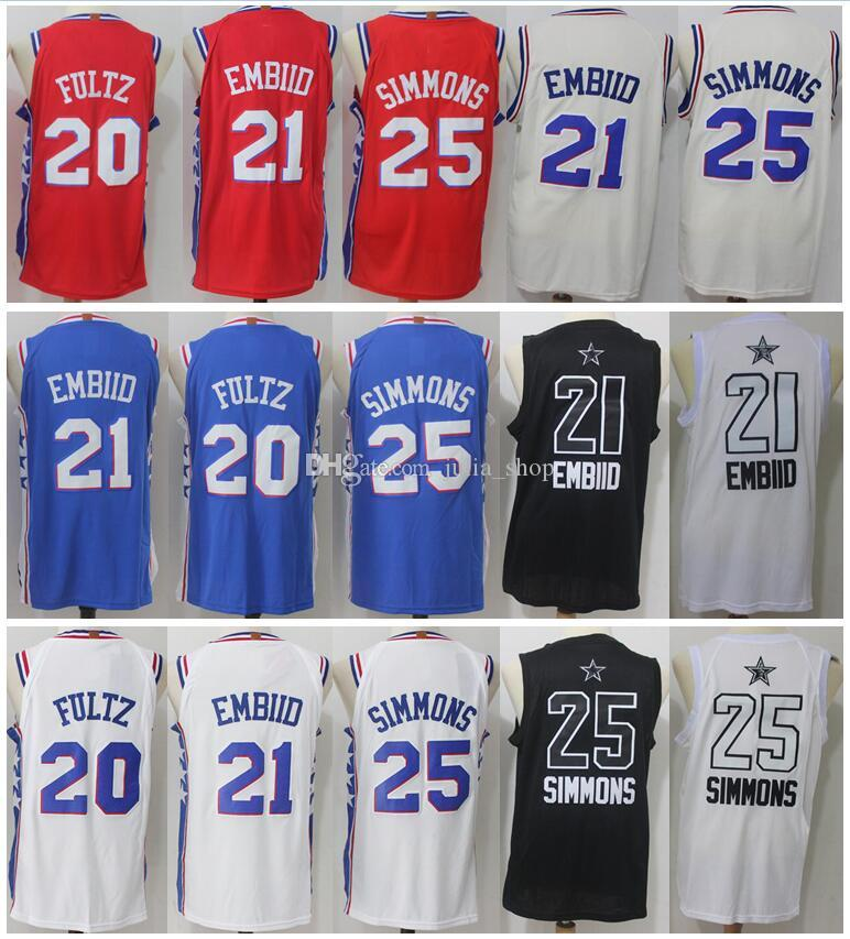 56ba7087fa27 2019 Wholesale The City Edition Cream  25 Ben Simmons 20 Markelle Fultz Jersey  Stitched Blue White Red Mens  21 Joel Embiid Jerseys Top Quality From ...