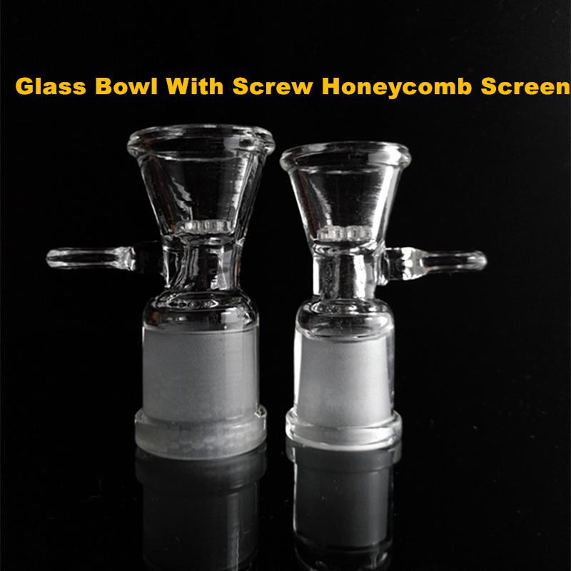 Glass Bowls For Bongs With Screw Honeycomb Screen Round Clear Female Male 14mm 18mm Joint Smoking Accessories