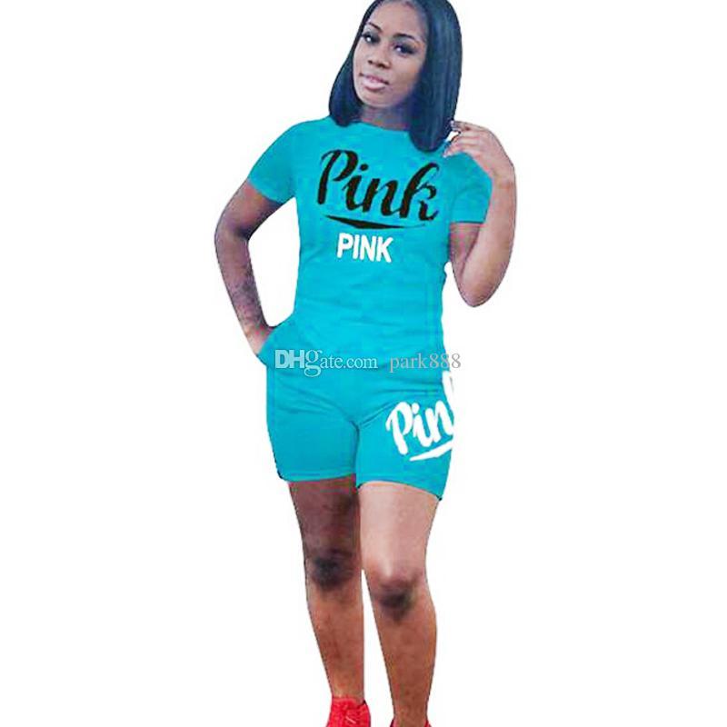 3309486d6 Girls Summer Clothing PINK Letter Shorts Suit Set Short Sleeve T ...