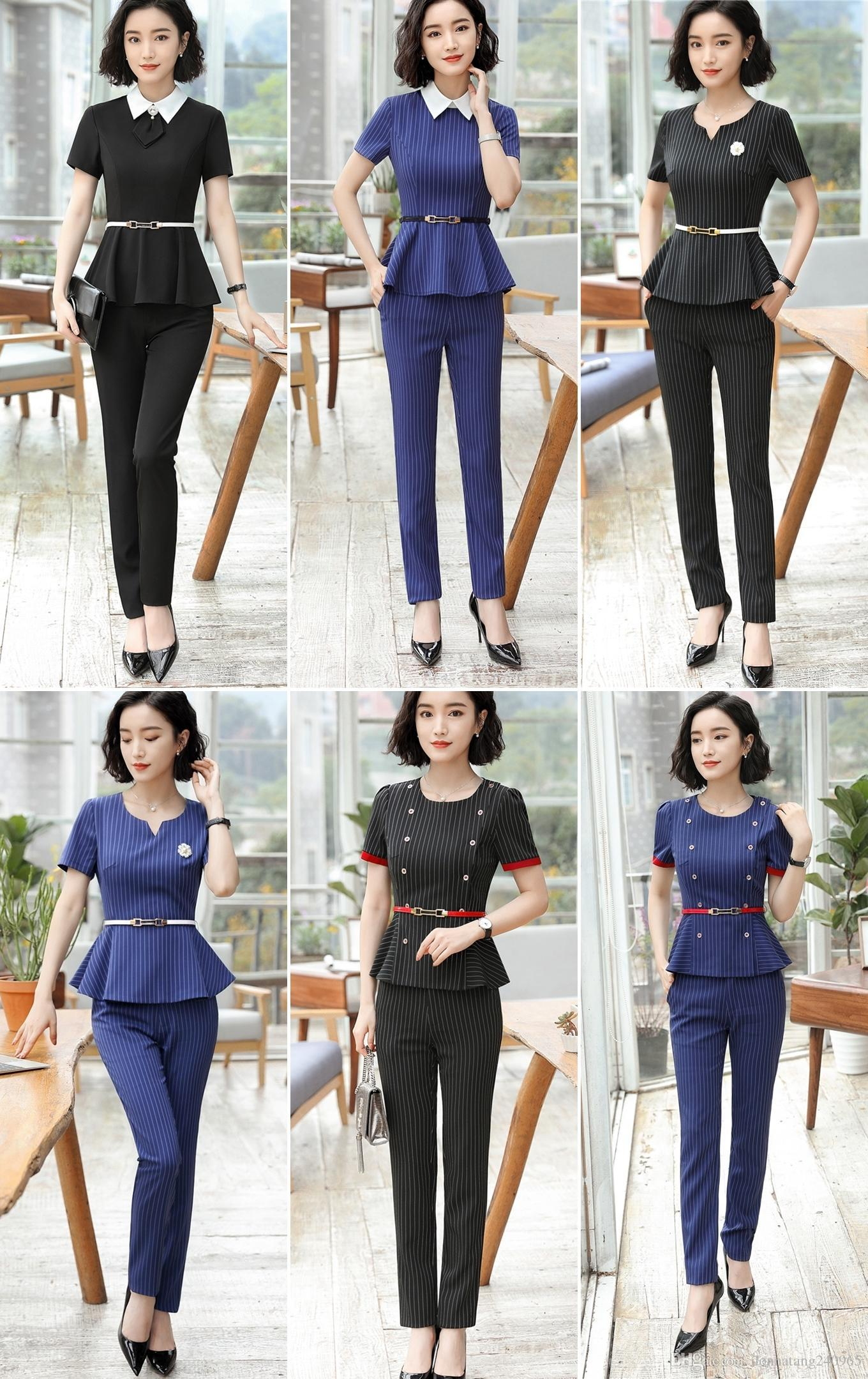 c6d97b558fee 2019 New Summer Short Sleeve Striped Formal Uniform Design Female Pantsuits  With Tops And Pants Ladies Office Trousers Set Pants Suit From Dujotree