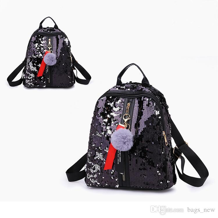 1759f241f50d New Arrival Women All Match Bag PU Leather Sequins Backpack Girls Small  Travel Princess Bling Backpacks Students School Bag Mochilas Jansport  School ...