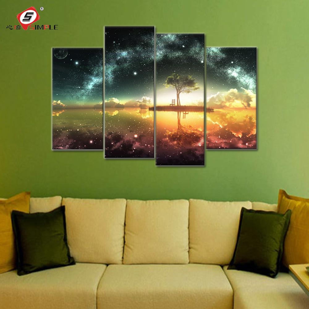 2018 Space Ocean Canvas Set Wall Art Canvas Paintings Wall Modular ...