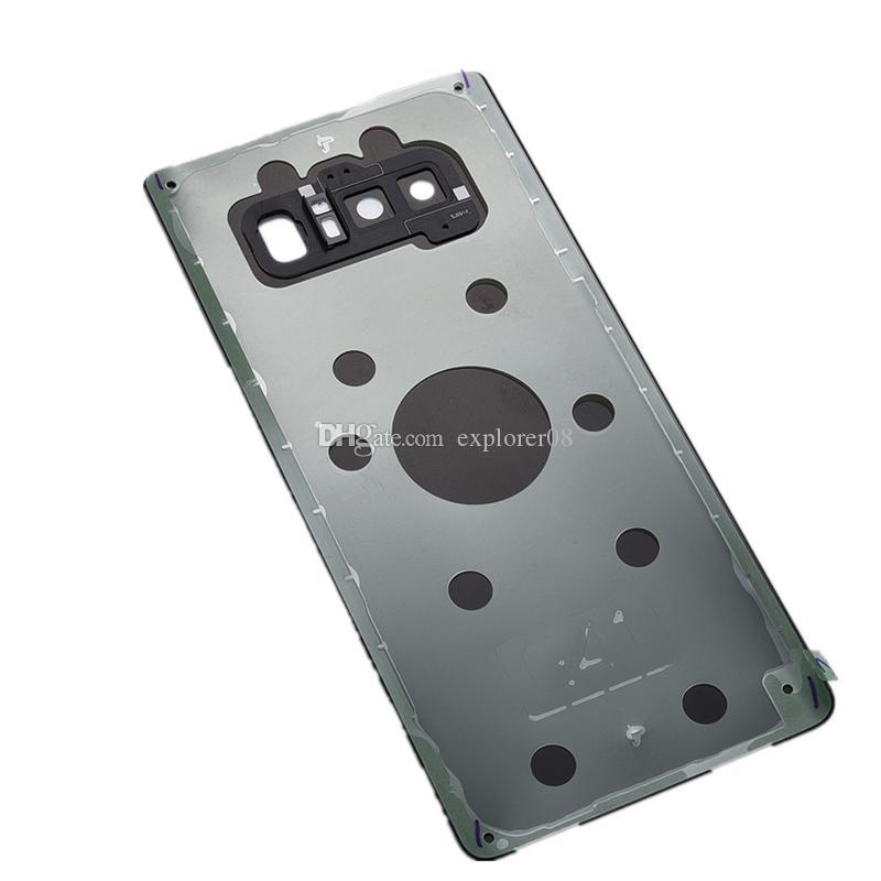 Bateria Back Door Vidro tampa da caixa com Camera Lens + adesivo autocolante instalado Para Samsung Galaxy Note 8 N950 Peças de Reposição
