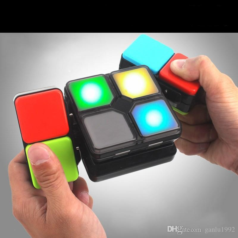 Magic Cube Electronics With Light Music Puzzle Flip Foldable Led Cubes Multiplayer Brain Training Decompression Toys 38dq Z