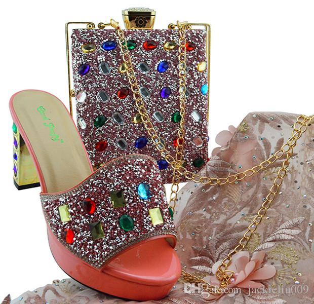 Moda azul escuro mulheres sapatos com grande cristal sapatos africanos e bolsa para vestido MD002, calcanhar 9CM