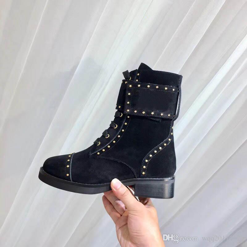 finest selection 29f4b c68d5 Hot Fashion Design Women Red Bottom Ankle Boots Square Toe Chunky Heel  Black Genuine Leather Knight Boots 10CM Ladies Winter Boots SZ:35-40