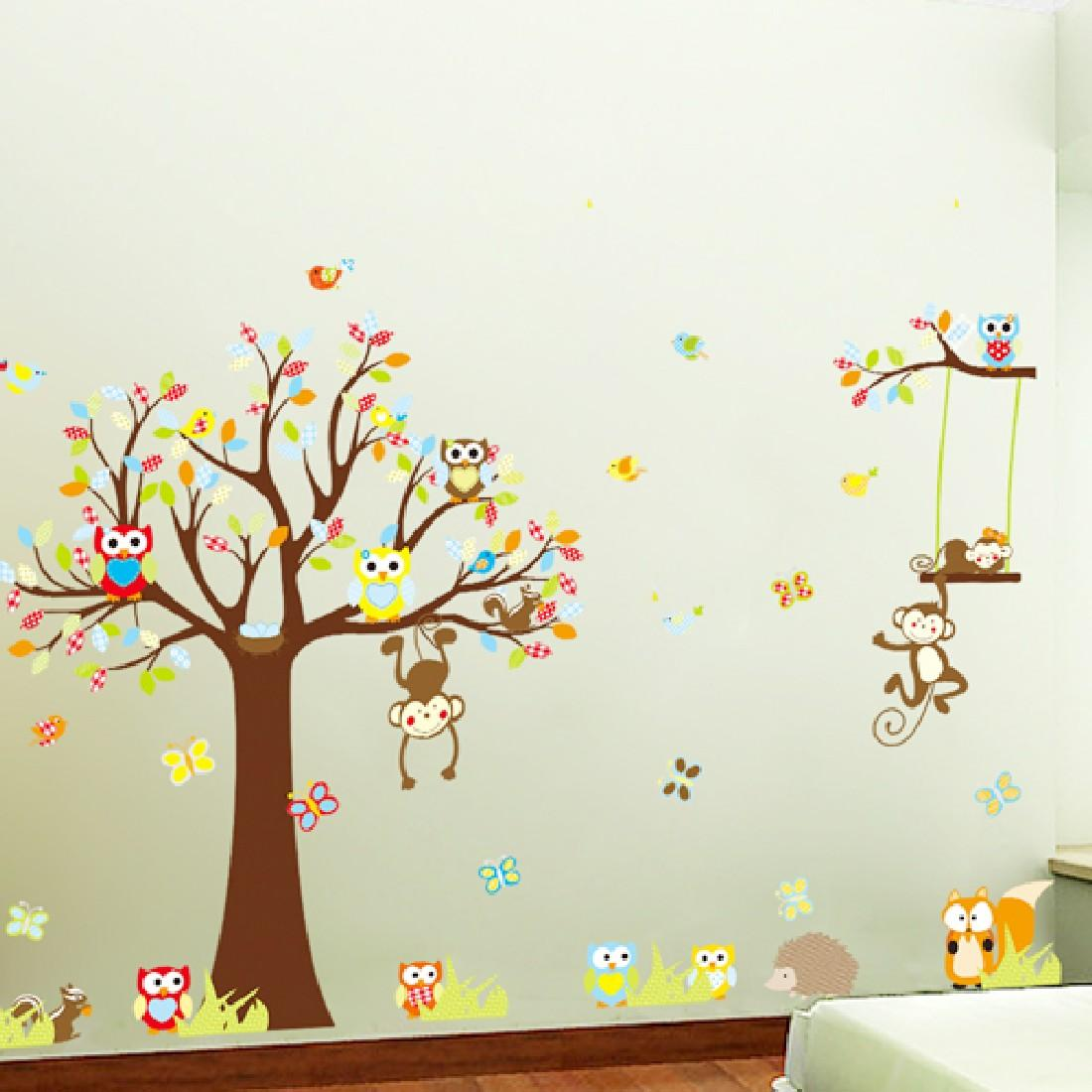 Wall stickers Wall Decal Removable kid Art Green/Colorful tree Monkey Cute Owl Owl monkey tree Owl branch Home Mural Decor