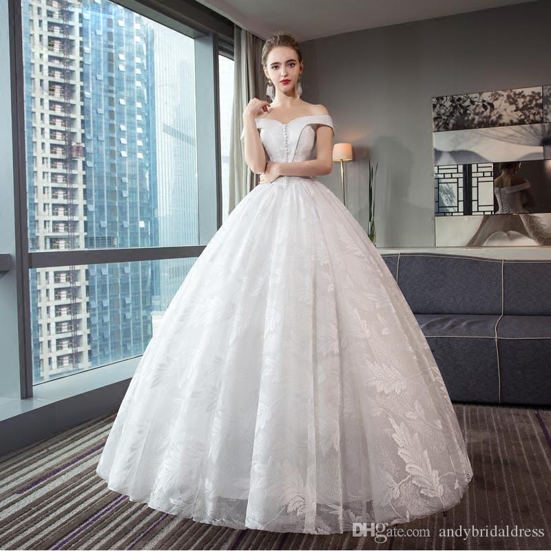 bb84920104a 2018 Lace Ball Gown Wedding Dresses Vintage Arabic Off The Shoulder Deep V  Neck Bridal Gowns Lace Up Wedding Gowns Elegant Dresses Indian Wedding  Dresses ...