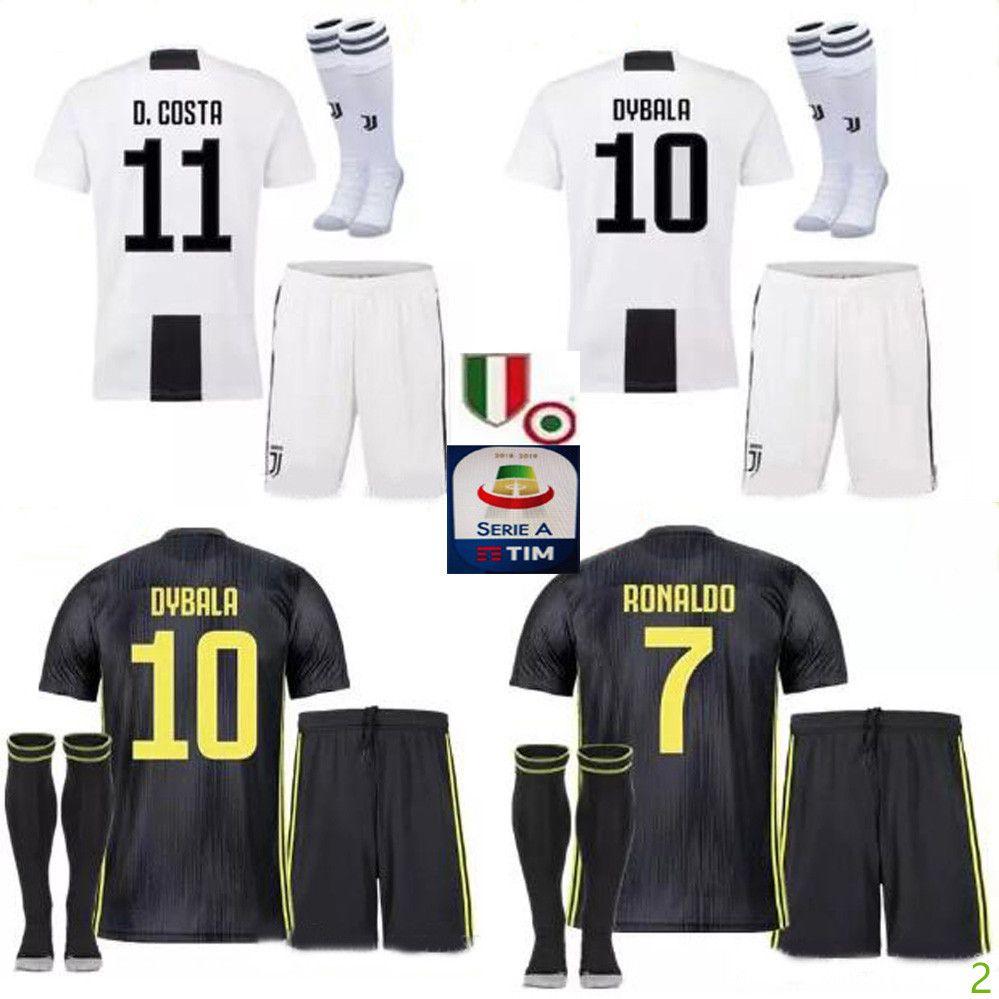 Compre 18 19 Juventus Soccer Jersey Kit 2018 2019 Juve 7 RONALDO 9 HIGUAIN  10 DYBALA 11 D. Costa 17 MANDZUKIC BUFFON Third Uniformes De La Camiseta De  ... f3b8d6ba238a8