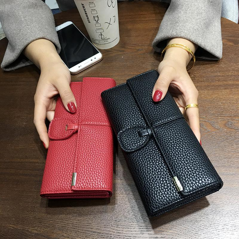 wholesale Classic Long Women's Wallet 2018 Hot Solid Money Bag Card Holder Purse Bag Buckle Portefeuille Femme High Quality NPJ112