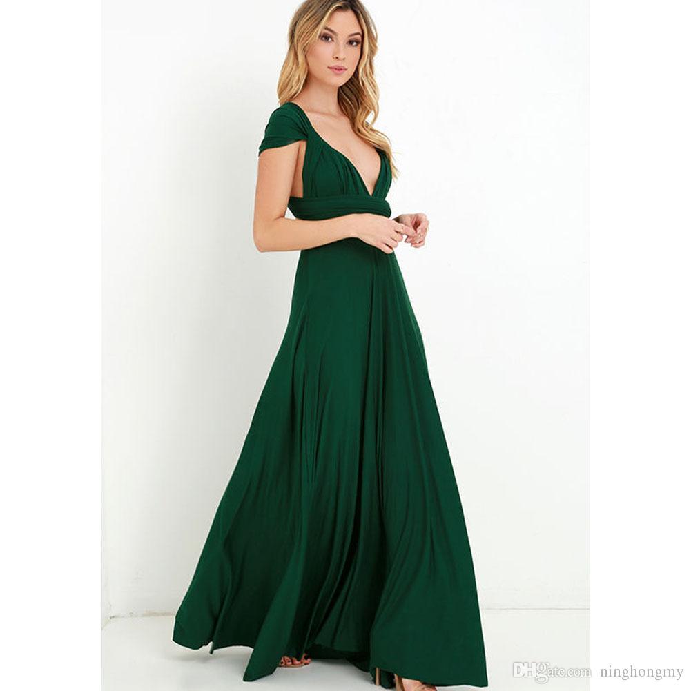 Summer Beach Multicolor Bridesmaid Dresses Mixed Style Flow Chiffon Boho Cheap Wrap Sexy Stretch DIY Floor-length Dress Evening Wear Halter