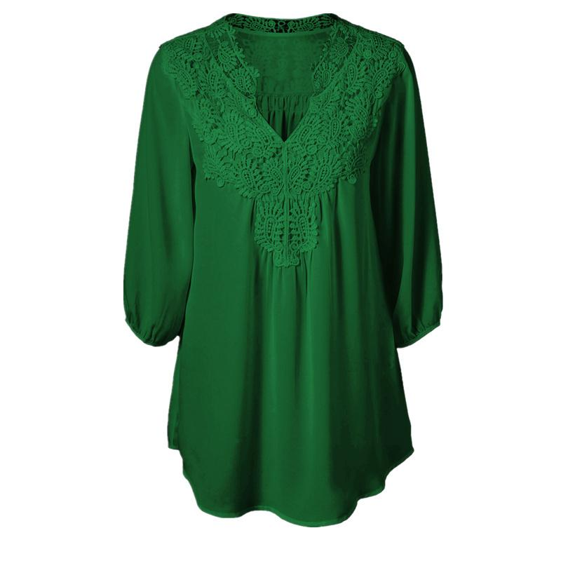 f9d50ce89ce 2019 5XL Plus Size Tops Women Chiffon Blouse Shirt Lace Up Blouses V Neck  Loose Blusas Work Ladies Clothes Tunic 2017 Spring From Bibei03