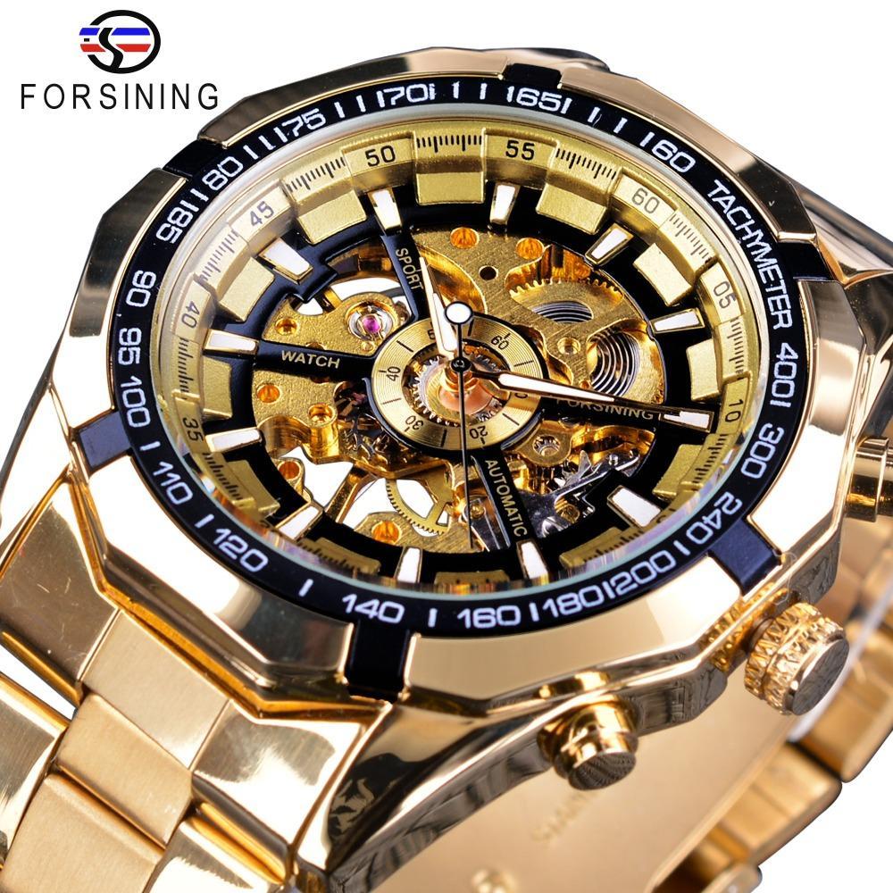 cf22924a645 Compre X Forsining Clássico Esporte Corrida De Aço De Ouro Homens Reais  Assista Top Marca De Luxo Esqueleto Criativo Relógio Mecânico Transparente  Relógio ...