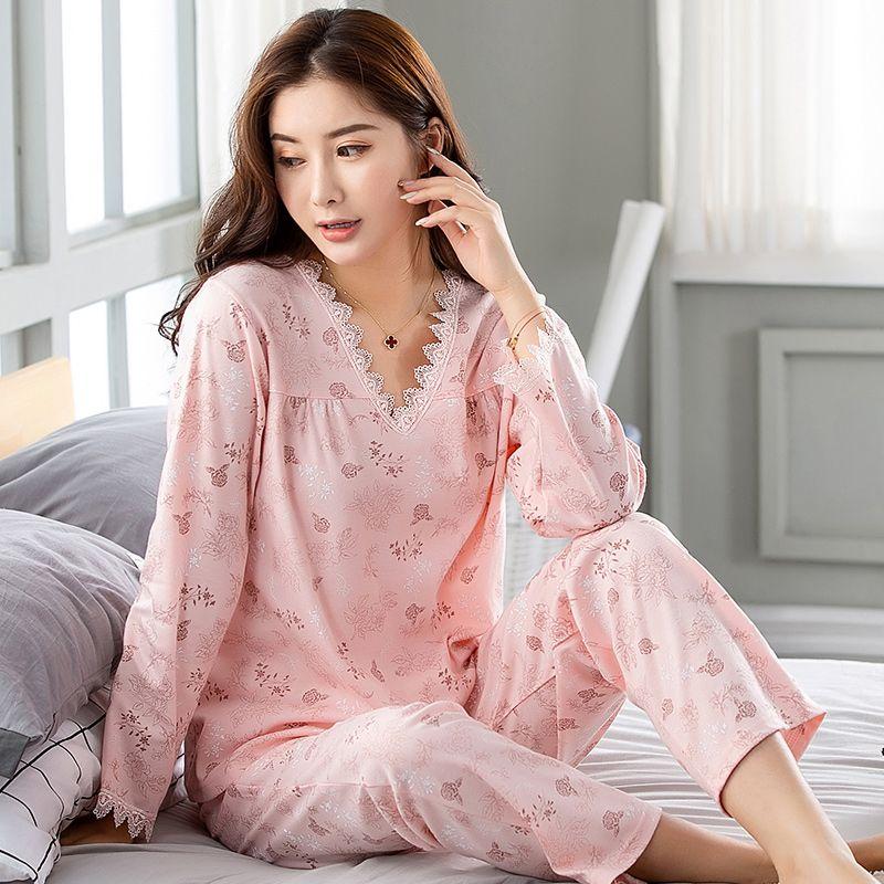 Spring Autumn Sexy Lace V-neck Pajamas 100% Cotton Floral Long ... 84477b205