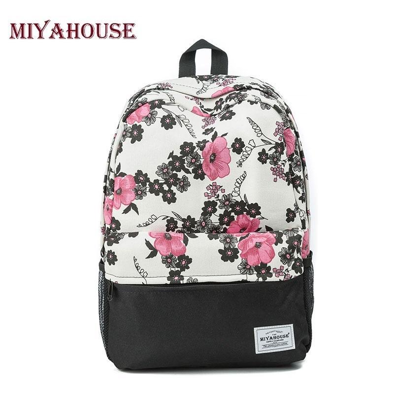 Miyahouse Women Backpacks For Teenage Girls Floral Printed School Bags  Travel Leisure Laptop Backpack Female Canvas Backpacks Y18110201 Rucksack  Backpack ... 1b0e1ccffa