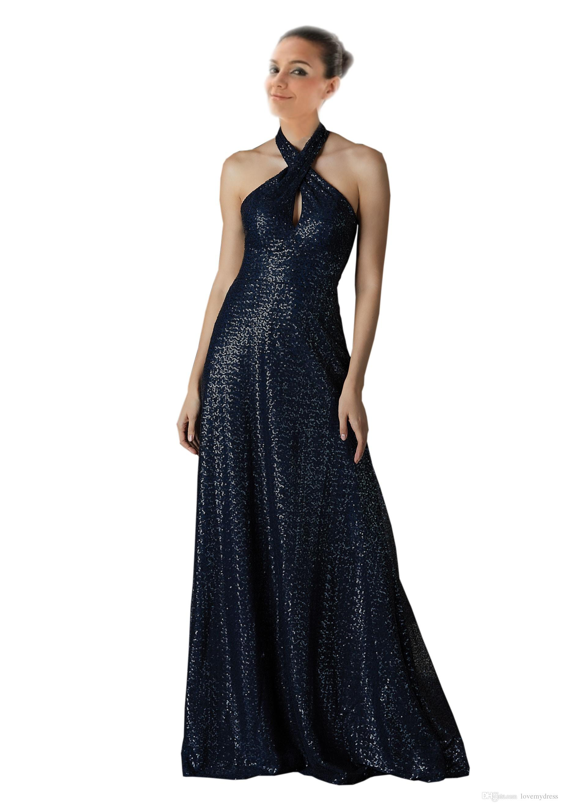 Sparkly Dark Navy Halter Sequined Bridesmaid Dresses A line Open Back Full Length Ruched Country Wedding party Juniors Evening Gowns Dress