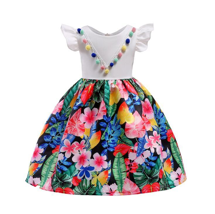 d4f21fc3c Baby Girls Cotton Floral Sleeveless Tulle Princess Dress Cute Bow ...
