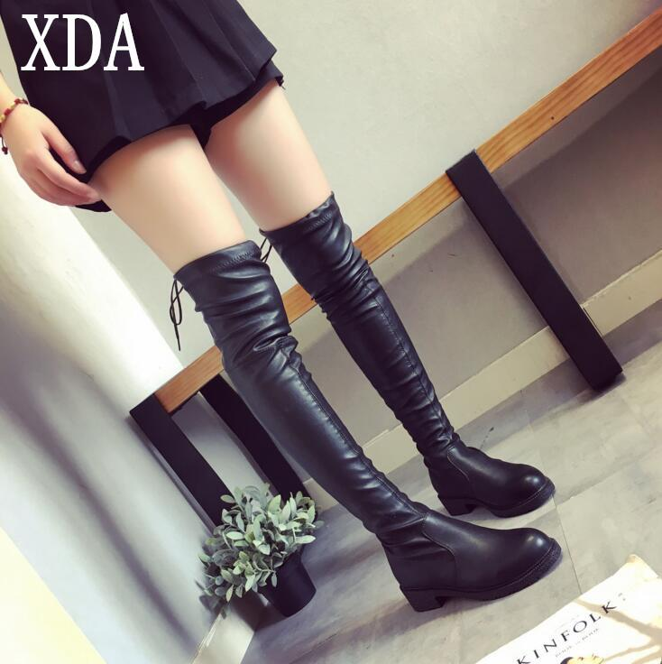 674235ab2915 Autumn Winter Long Boots NEW Style Women Flat Low Heel Over The Knee Boots  Female Lace Up Thigh High Boots W114 Black Knee High Boots Chukka Boots Men  From ...