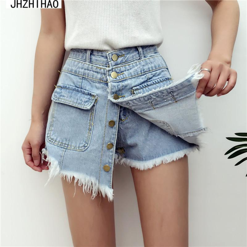 75611d30fe31 2019 Ladies High Quality Sale High Waisted Denim Shorts Women 2017 Summer  Skorts Skirts Slim Blue Short Jeans Vintage Short Feminino From  Fitzgerald10, ...