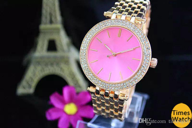 2018 Luxury Design Rose Gold Woman Diamond Watches Elegant Ladies Dresses Steel Strap Folding Buckle Crystal Wristwatch Gifts For Girls