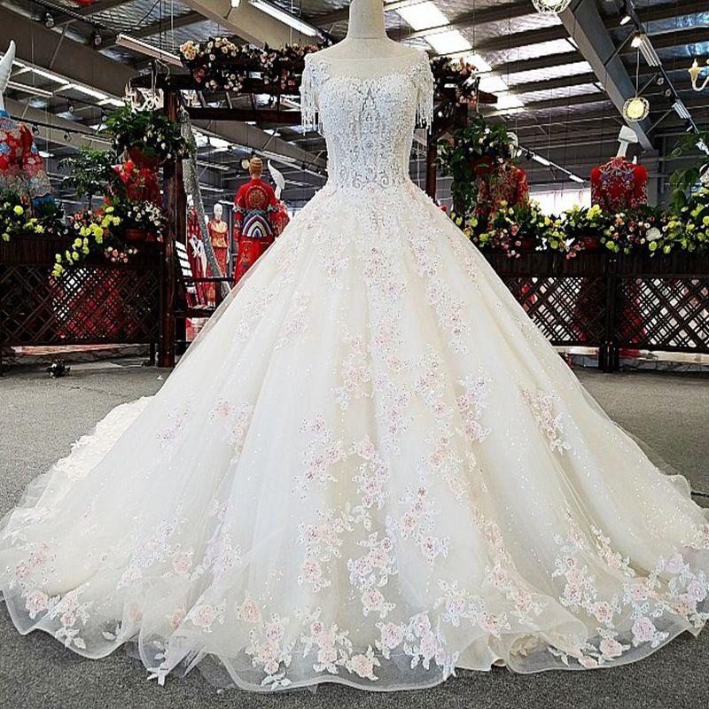 Detail Light Pink Flowers Bride Gown Luxury Sexy Pretty Wedding