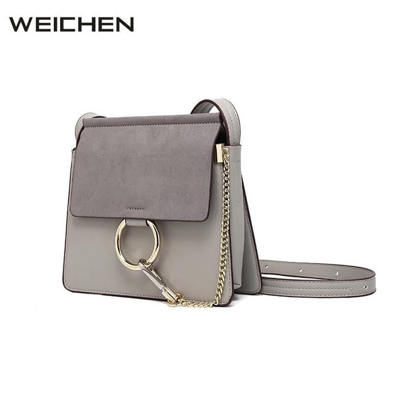 068ac42196c0 Grey Women Leather Handbags Large 2018 Circle Ring Chain Suede Bags For  Girls Sac A Main Women Shoulder Bags Messenger Bag Ladies Purses Fashion  Bags From ...