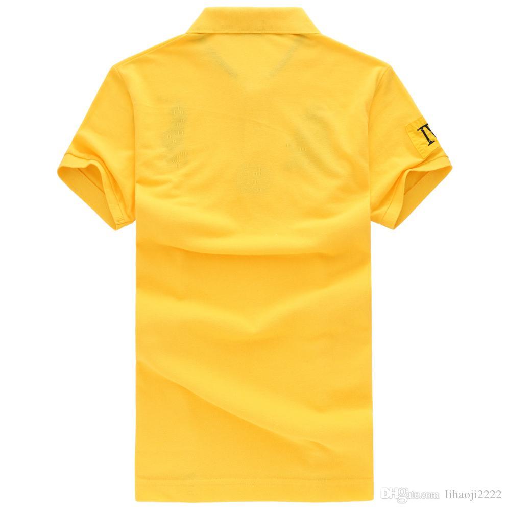 Haute qualité marque hommes polo chemise nouveau été occasionnels broderie coton hommes polo solide polo ralp hommes camisa