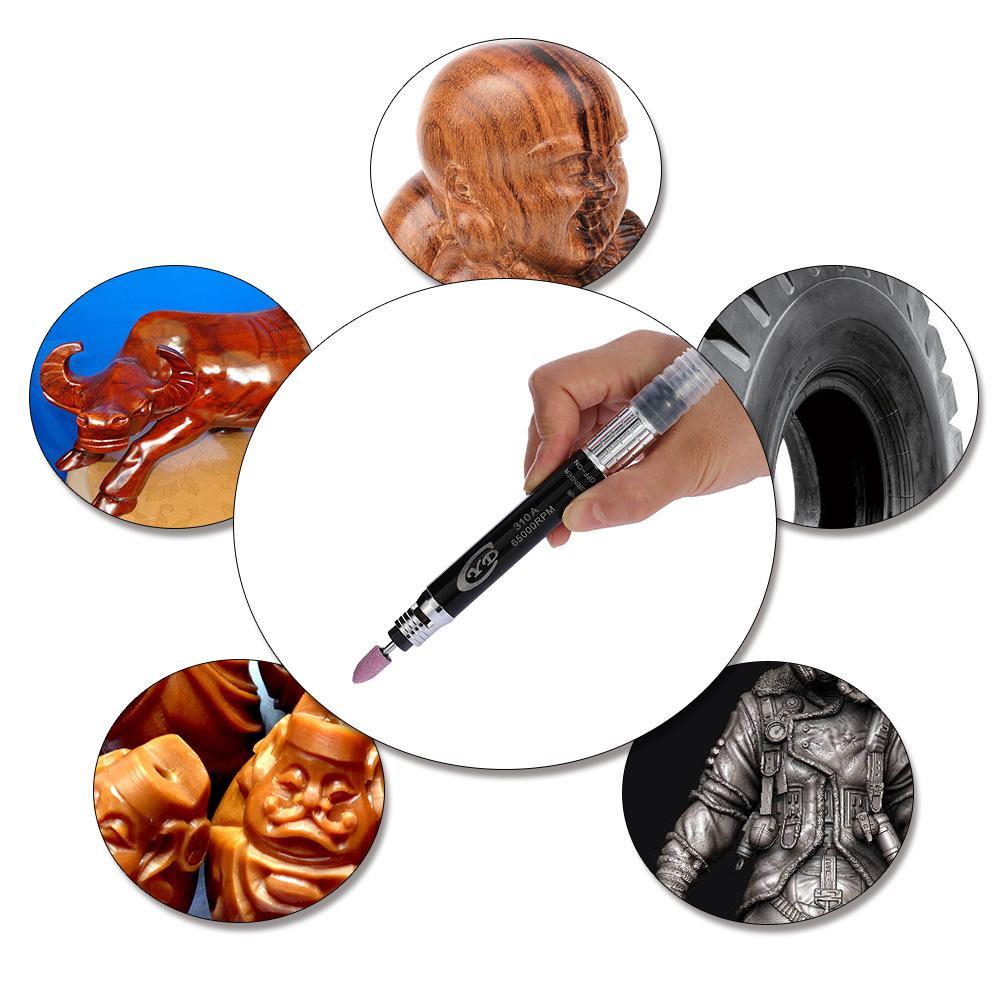 Freeshipping Professional Air Grinder Mini Pencil Polishing Rotary Cutting Tool Set Multi-function Air Micro Die Grinder Kit 16Pcs 65000 RPM