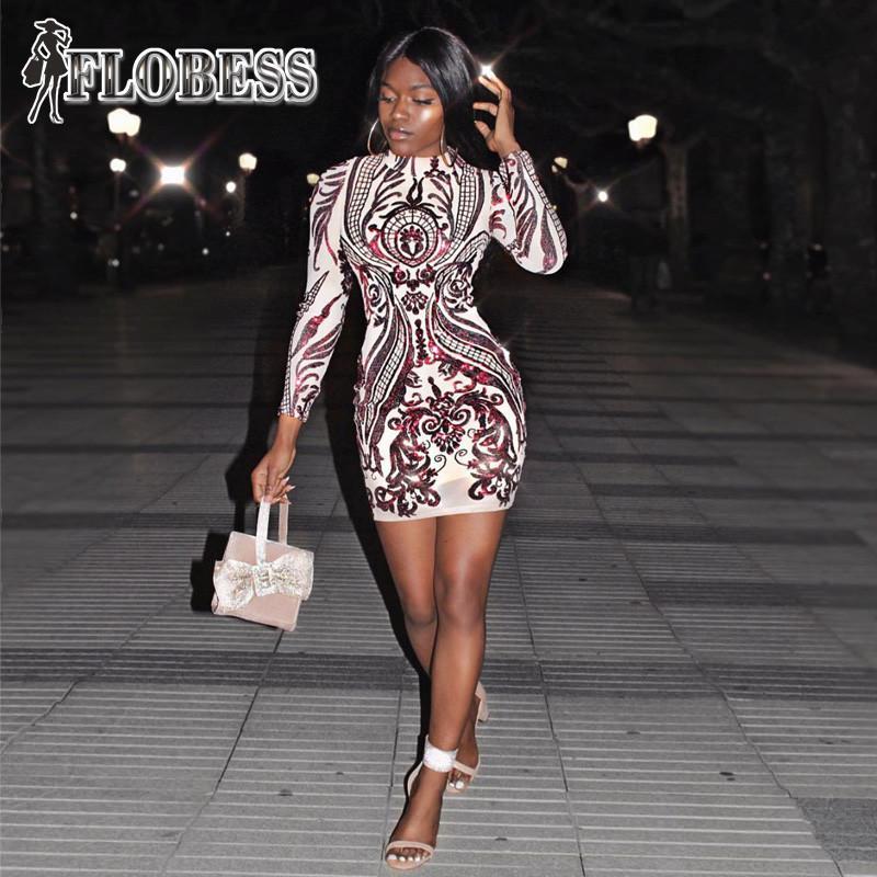 Hot Seller Sexy Package Hip Sequins Club Dress 2018 Autumn Winter ... 0f42278b322f