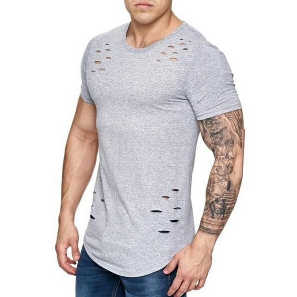 80cdf5907 2018 Plus Size 3XL Summer Ripped Hole T Shirt Men Casual O Neck Short  Sleeeve T-Shirt Breathable Hip Hop Tshirt Men s Top Tee