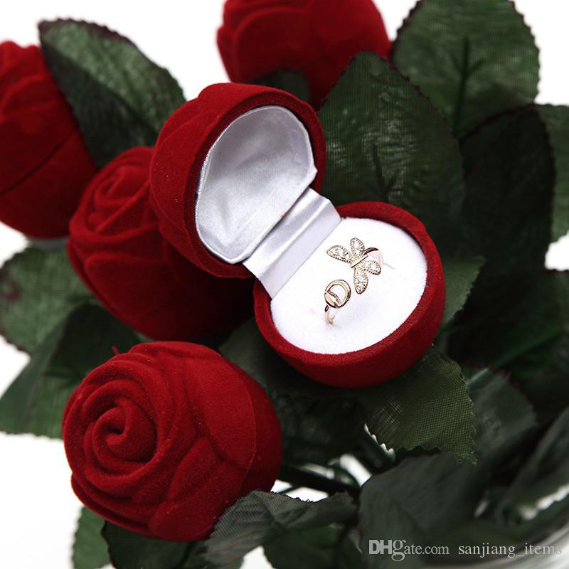 Valentine's Day Red Rose Flower Ring Box Creative Proposal Engagement Wedding Ring Boxes Romatic Jewel Case Jewellery Boxes