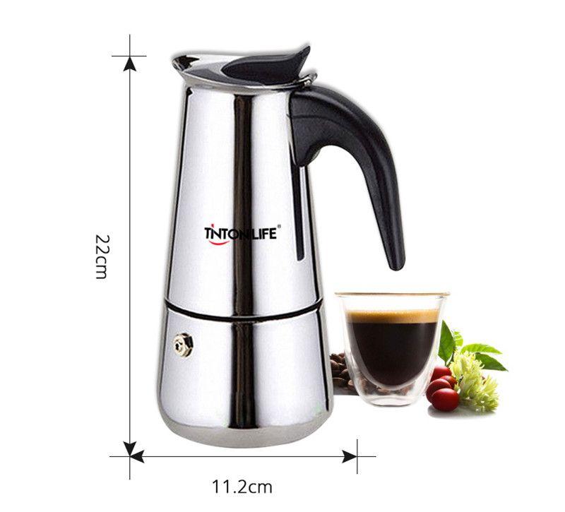 2 tazas de acero inoxidable percolator estufa superior cafetera herramienta 100 ml