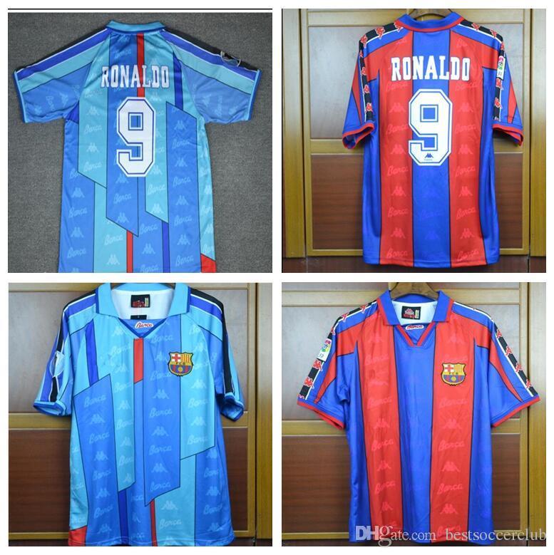 1aaf1123fc Compre TOP 96 97 Ronaldo Casa Longe Azul Jersey Retro Camisa De Futebol  1996 1997 Ronaldo Camisa De Futebol Clássico De Bestsoccerclub