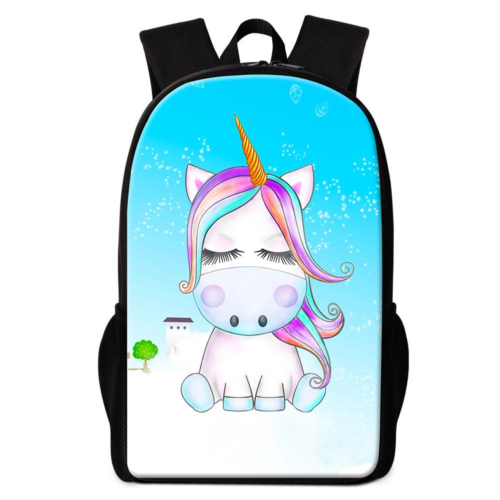 Cute Unicorn Cartoon Animal Printing School Bag Backpack For Girls ... a5e8bc8235ee3