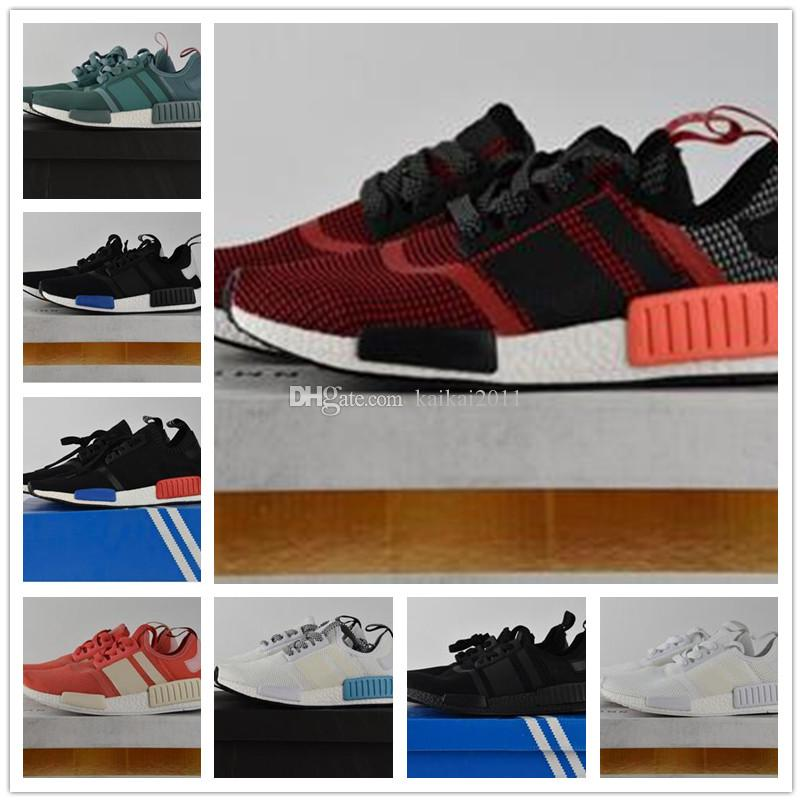 b5798d988 2019 Original Hot Sale NMD Runner 1 Primeknit Black White Grey Pink Red  Blue Basketball Shoes Men Woman Boots Running Shoes Size 36 45 From  Kaikai2011