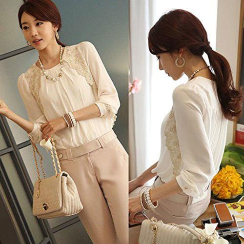 2acfd582221 2019 Fashion Summer Women Blouse White Casual Chiffon Long Sleeve Ladies  Shirt Loose Tops Blouse From Modeng04, $23.93 | DHgate.Com