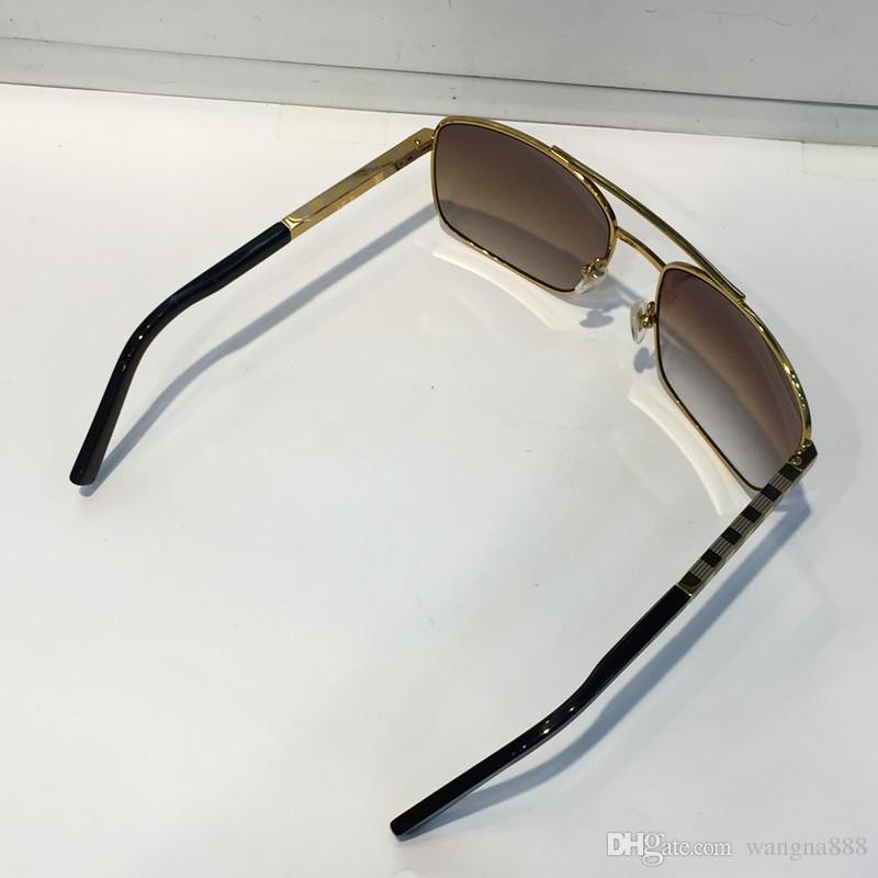 Lunettes de soleil de luxe Attitude pour les hommes Mode 0260 conception Objectif de protection UV Carré Plein cadre Couleur or Cadre plaqué viennent avec forfait