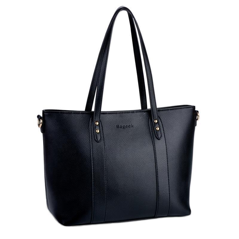 plus récent 58a85 2400d Coofit Female Tote Handbag Solid Black Women Shoulder Bag Rivet arge tote  bags hobo soft leather ladies crossbody messenger Sac