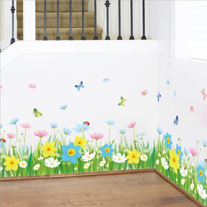 beautiful fantasy flowers 3d wall sticker fresh green grass