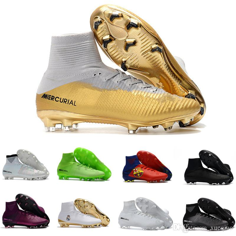 38bd0a992 2019 2019 Men Mercurial Superfly CR7 V FG AG Football Shoes Cristiano  Ronaldo High Tops Neymar JR ACC Soccer Shoes Magista Obra Soccer From  Xueqiao