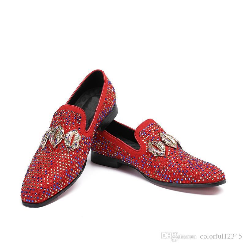 İtalyan Tarzı Lüks erkek Ayakkabı Siyah Deri Elbise Ayakkabı Slip-on Sivri Burun Rhinestones erkek Düğün Ayakkabı