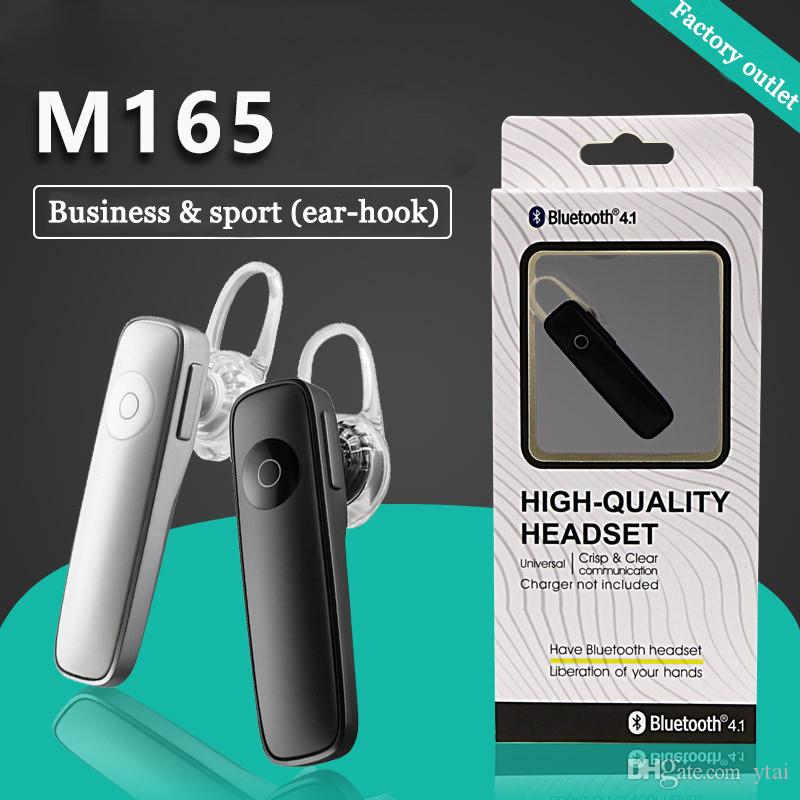 M165 Bluetooth Headset Earphone With Black And White Wireless Bluetooth Handfree Earphone With Ear-hook For Iphone Huawei Universal Phone